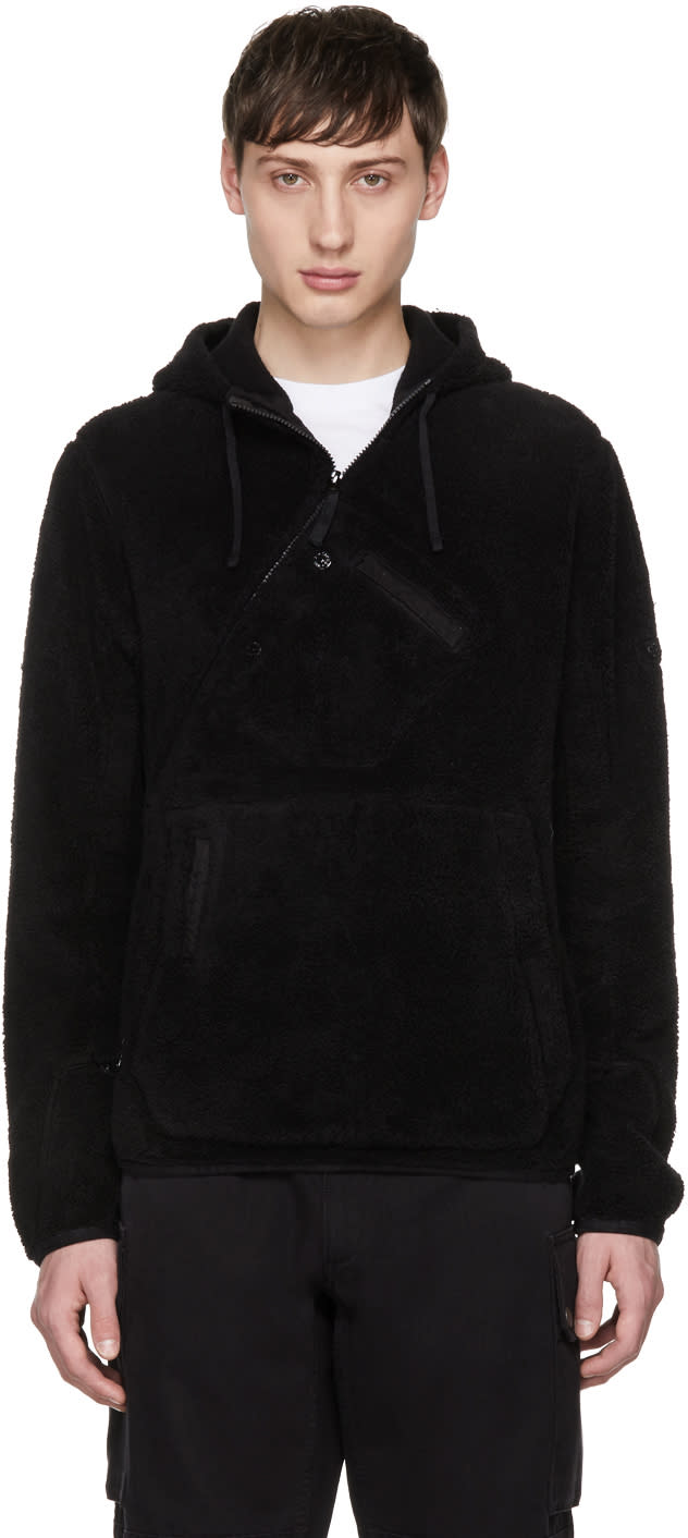 Image of Stone Island Shadow Project Black Diagonal Zip Kangaroo Hoodie