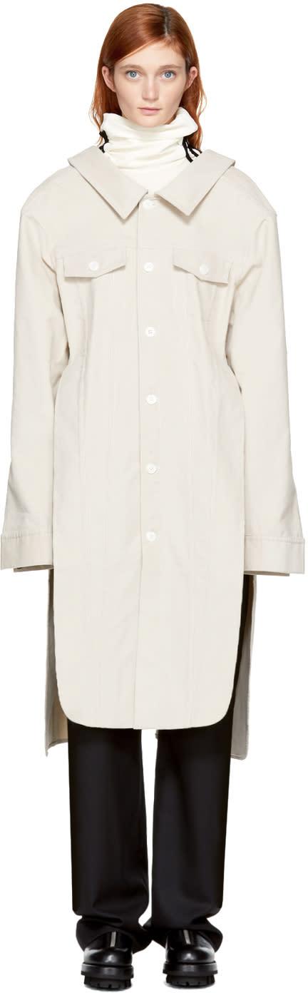 Image of Matthew Adams Dolan Beige Corduroy Mid-length Dress