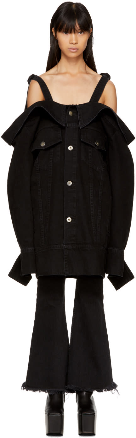 Image of Matthew Adams Dolan Ssense Exclusive Black Denim Falling Off-the-shoulder Jacket