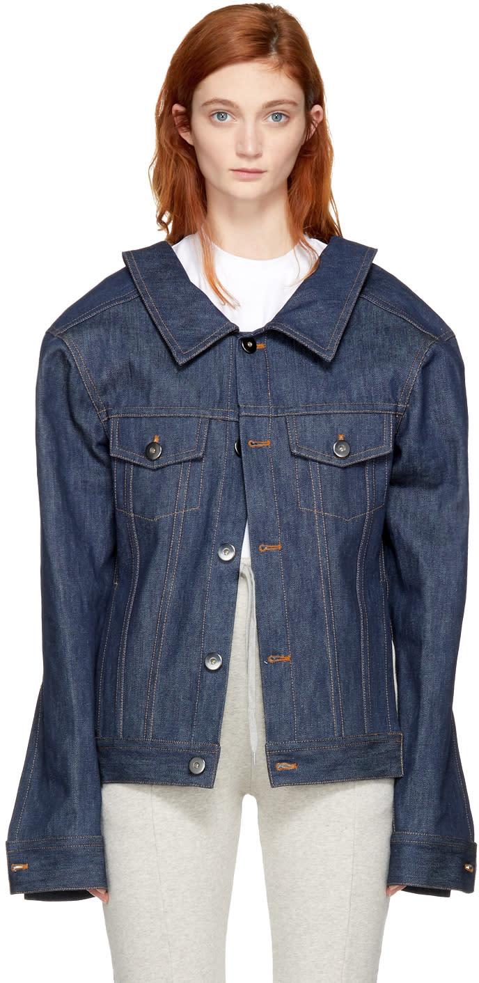 Image of Matthew Adams Dolan Indigo Denim Structure Shoulder Jacket