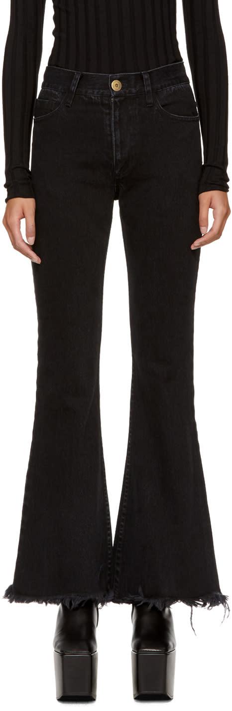 Image of Matthew Adams Dolan Ssense Exclusive Black Frayed Flare Jeans