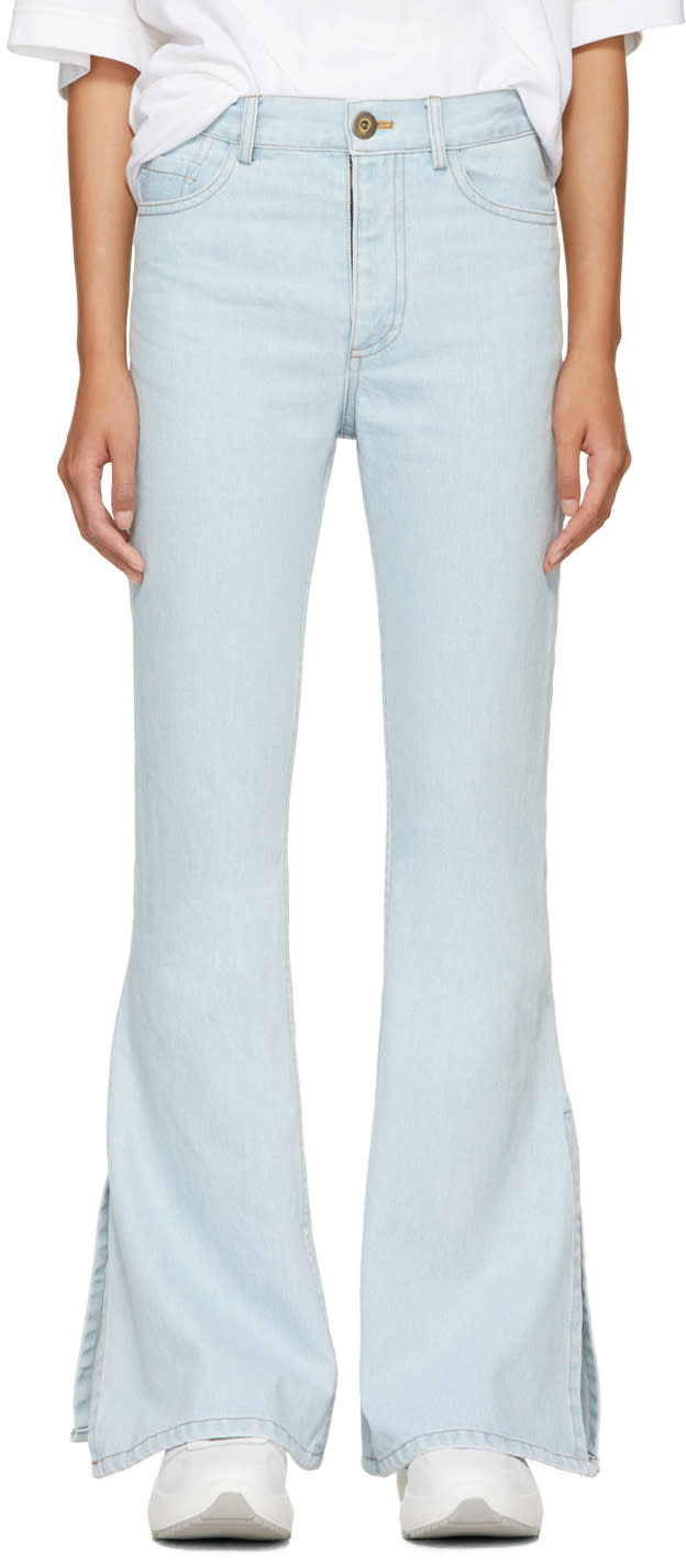 Image of Matthew Adams Dolan Ssense Exclusive Indigo Split Hem Flare Jeans