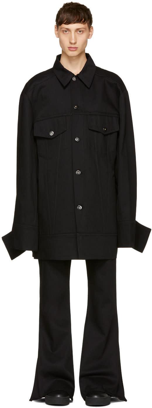Image of Matthew Adams Dolan Black Denim Falling Cuff Jacket