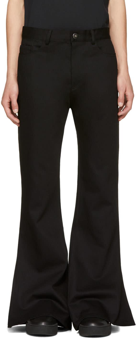 Image of Matthew Adams Dolan Black Split Hem Flare Jeans