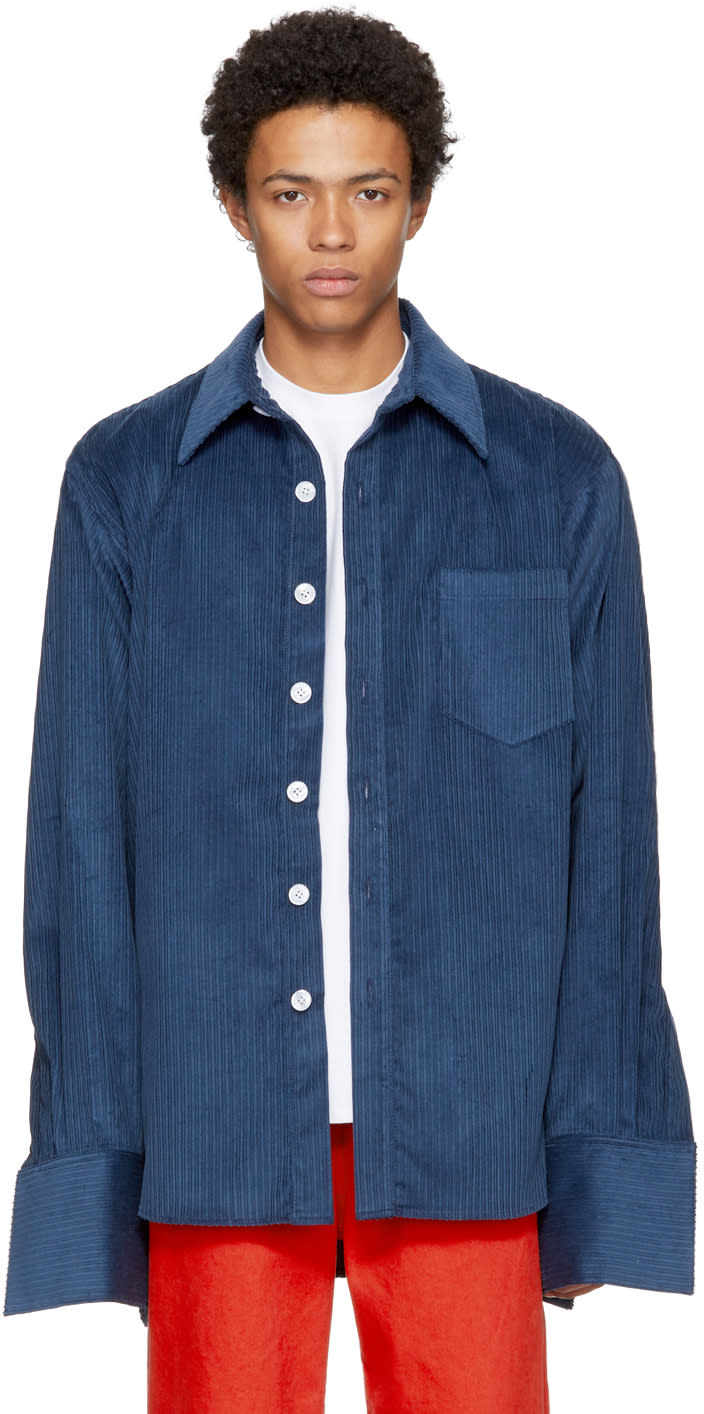 Image of Matthew Adams Dolan Navy Corduroy Oxford Shirt