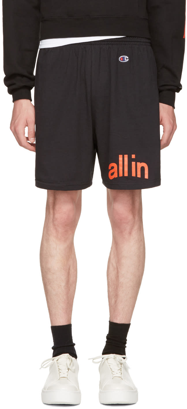 Image of All In Black Champion Edition Logo Shorts