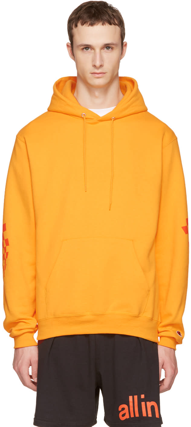 All In Pull à Capuche Jaune Logo édition Champion