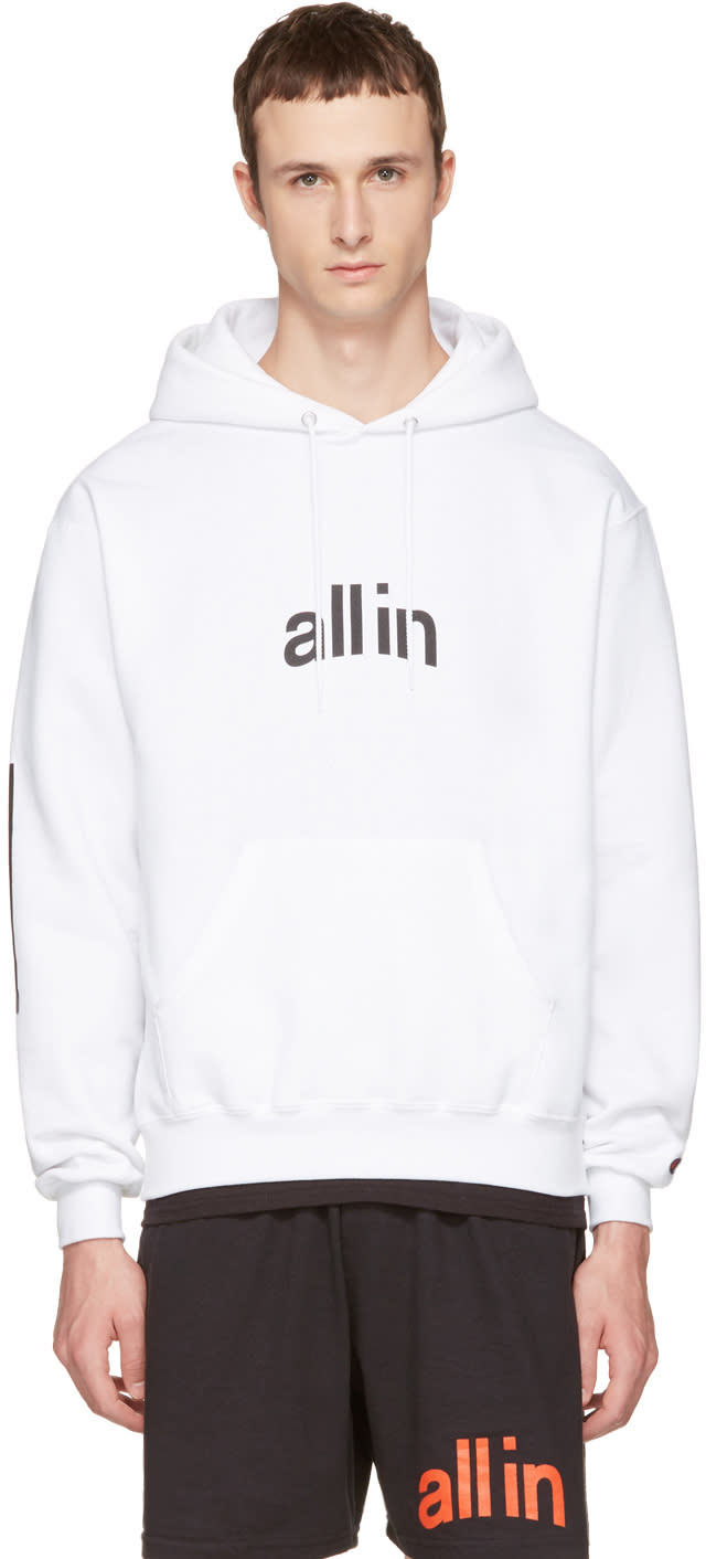 All In Pull à Capuche Blanc Logo édition Champion