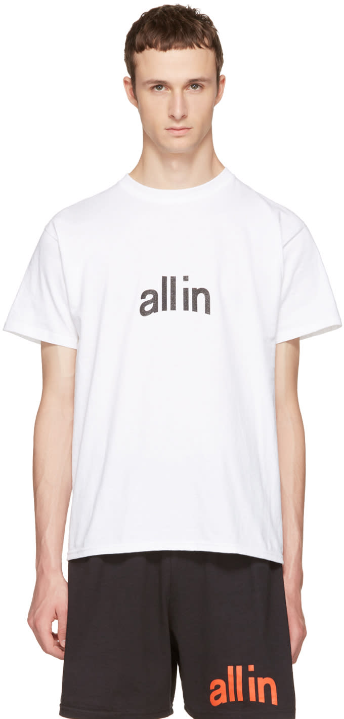 All In ホワイト Champion Edition ロゴ T シャツ