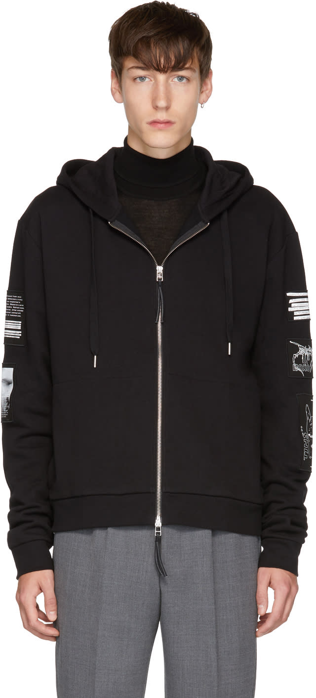 Image of Tiger Of Sweden Jeans Black Diff Patches Zip Hoodie