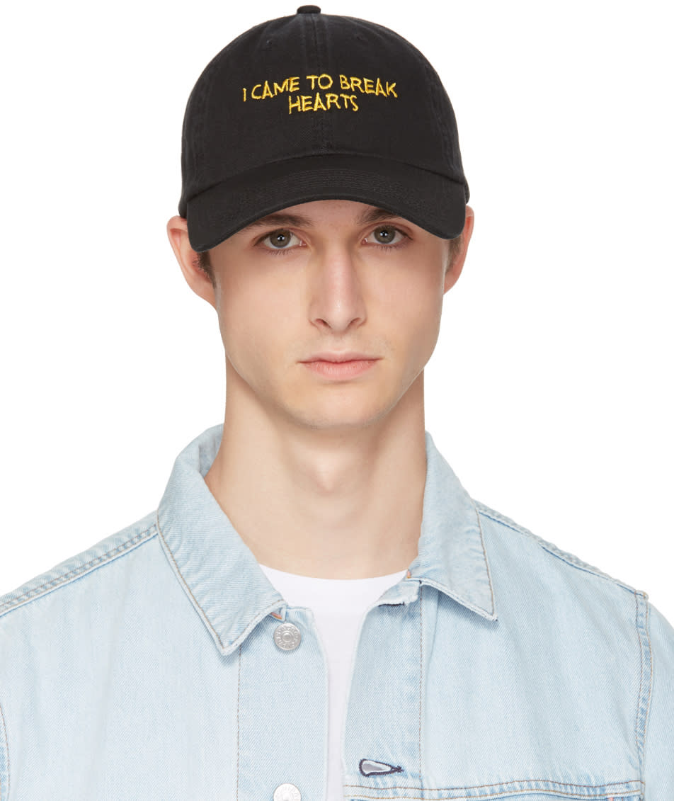 Image of Nasaseasons Ssense Exclusive Black and Yellow i Came To Break Hearts Cap