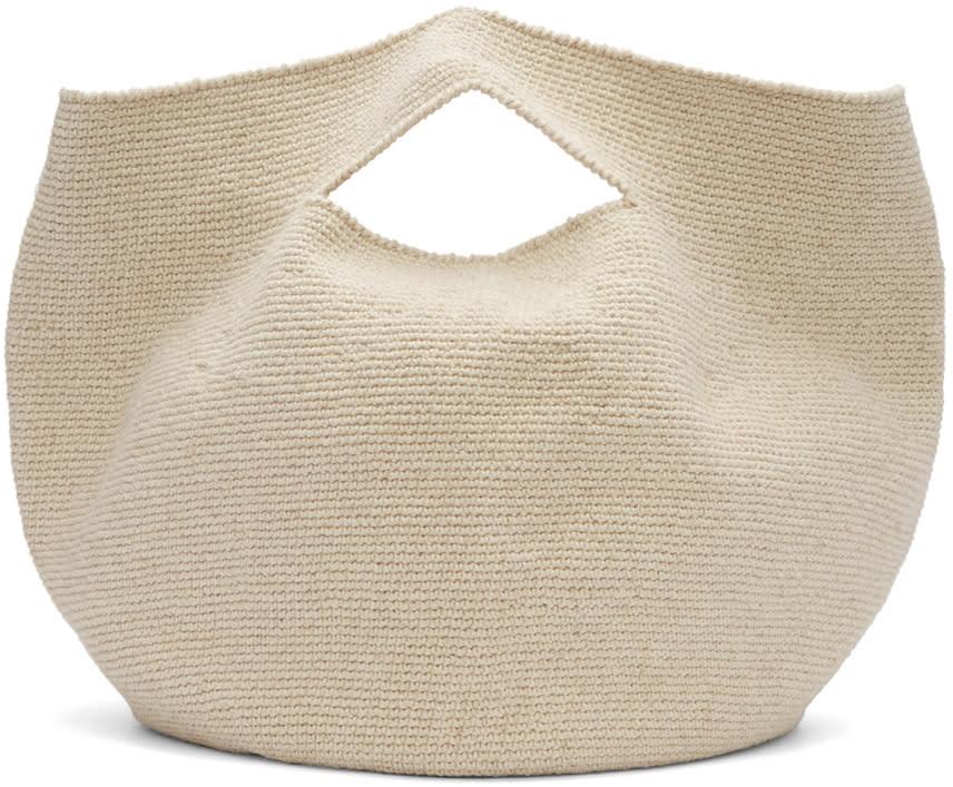 Image of Lauren Manoogian Beige Crochet Bowl Tote