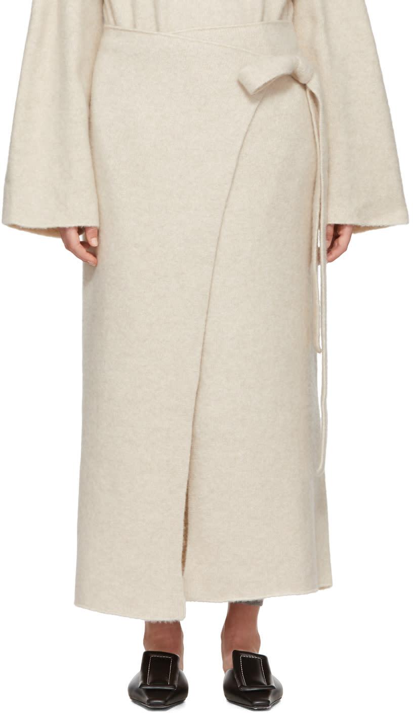 Image of Lauren Manoogian Beige Cashmere Wrap Blanket Skirt