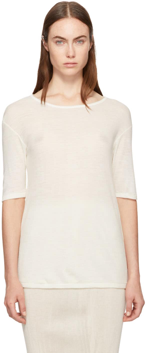 Image of Lauren Manoogian Ivory Merino Rib T-shirt