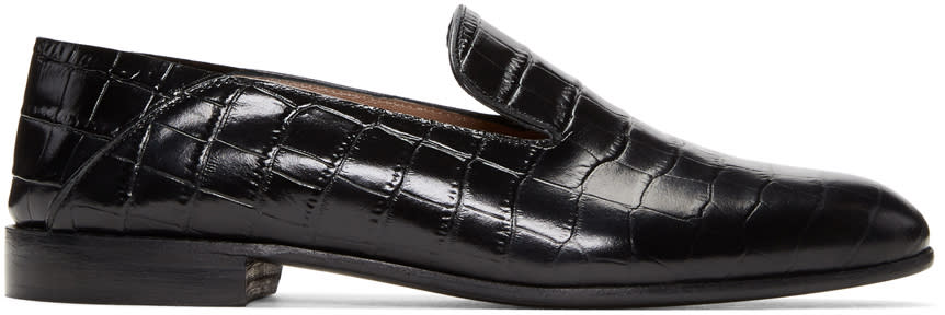 Image of Alumnae Black Croc-embossed Garçonne Step Down Loafers