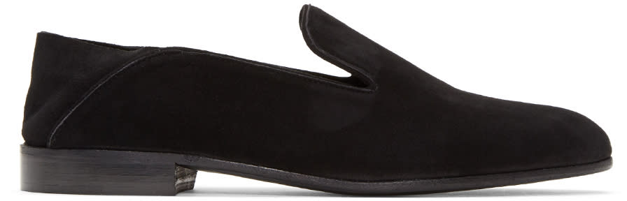 Image of Alumnae Black Suede Garçonne Step Down Loafers