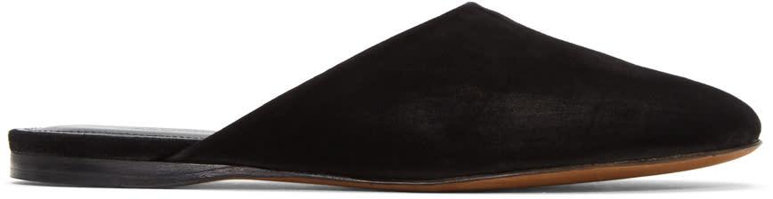 Image of Alumnae Black Suede Asymmetric Round Toe Mules