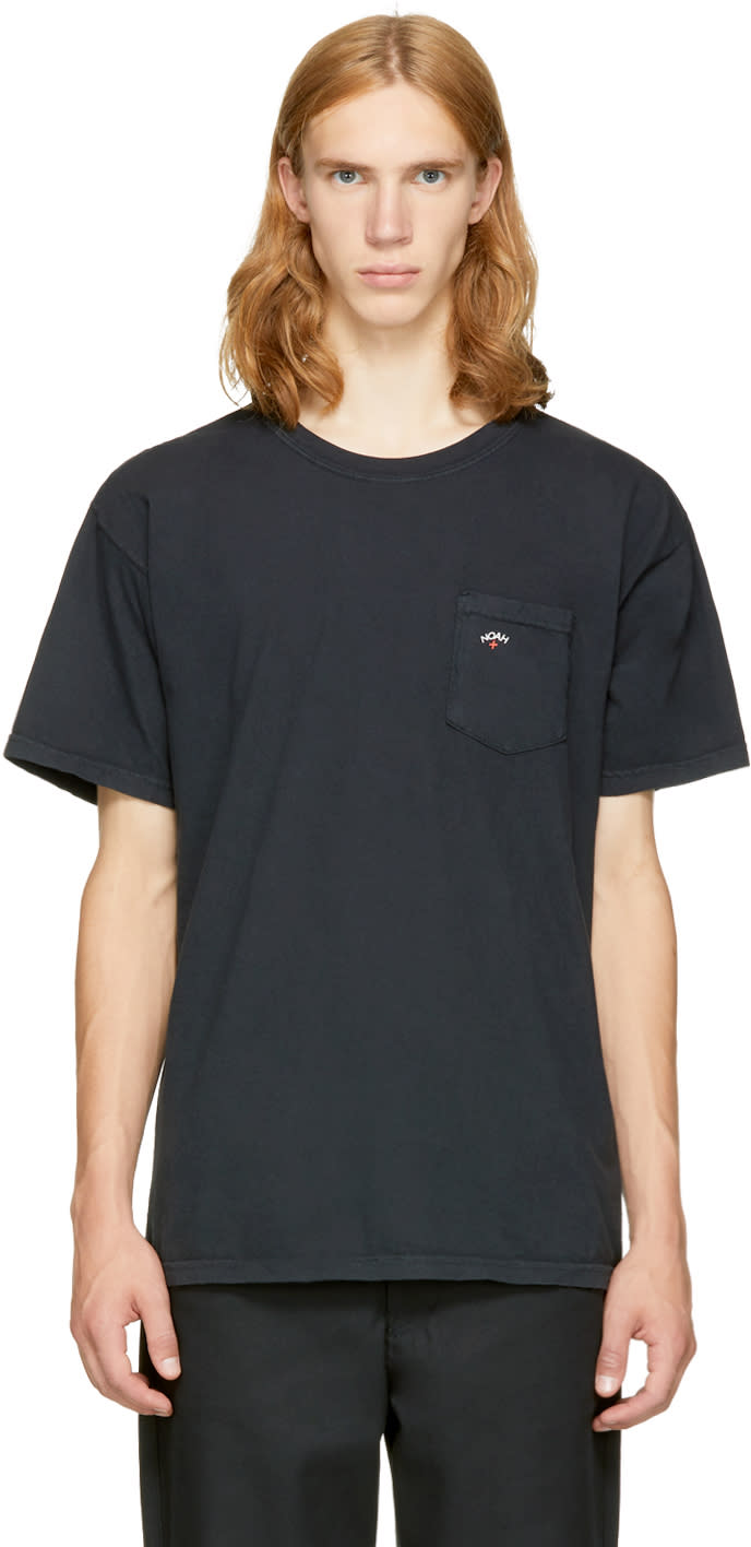 Image of Noah Nyc Black Pocket Logo T-shirt