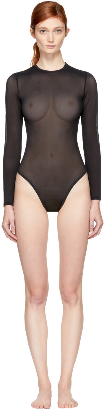 Image of Land Of Women Black Long Sleeve Mesh Bodysuit