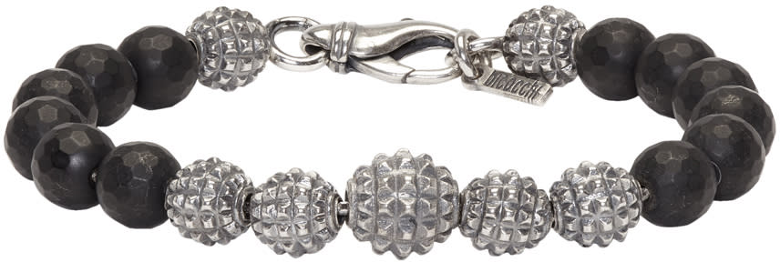 Image of Emanuele Bicocchi Silver and Black Beaded Bracelet