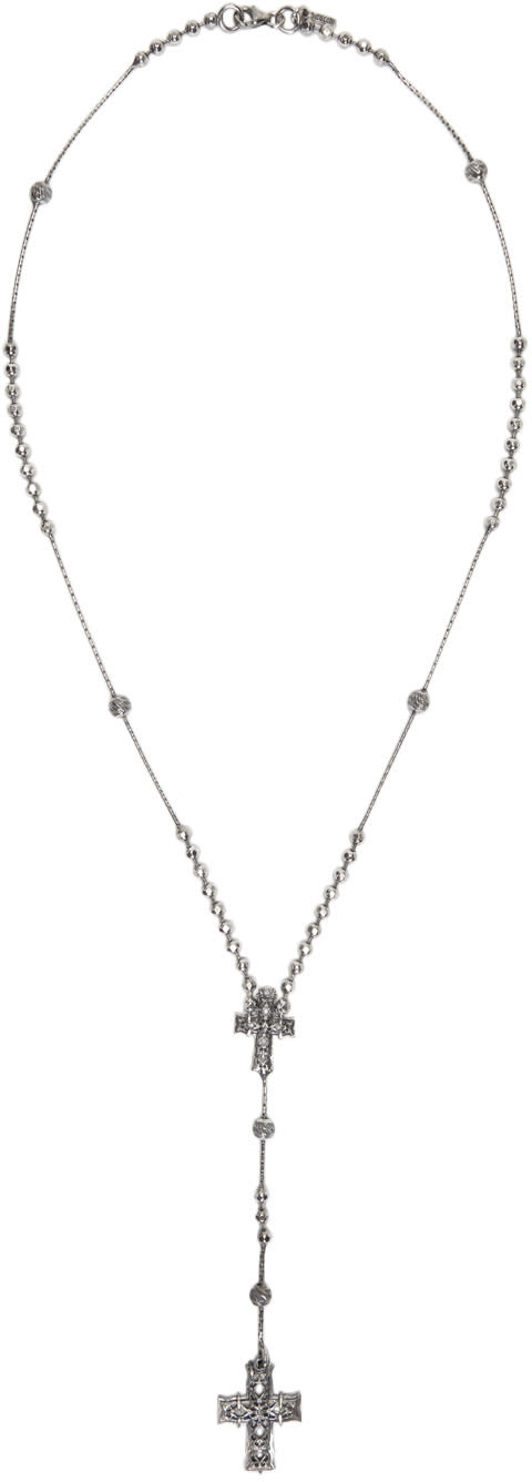 Emanuele Bicocchi Silver Rosary Necklace