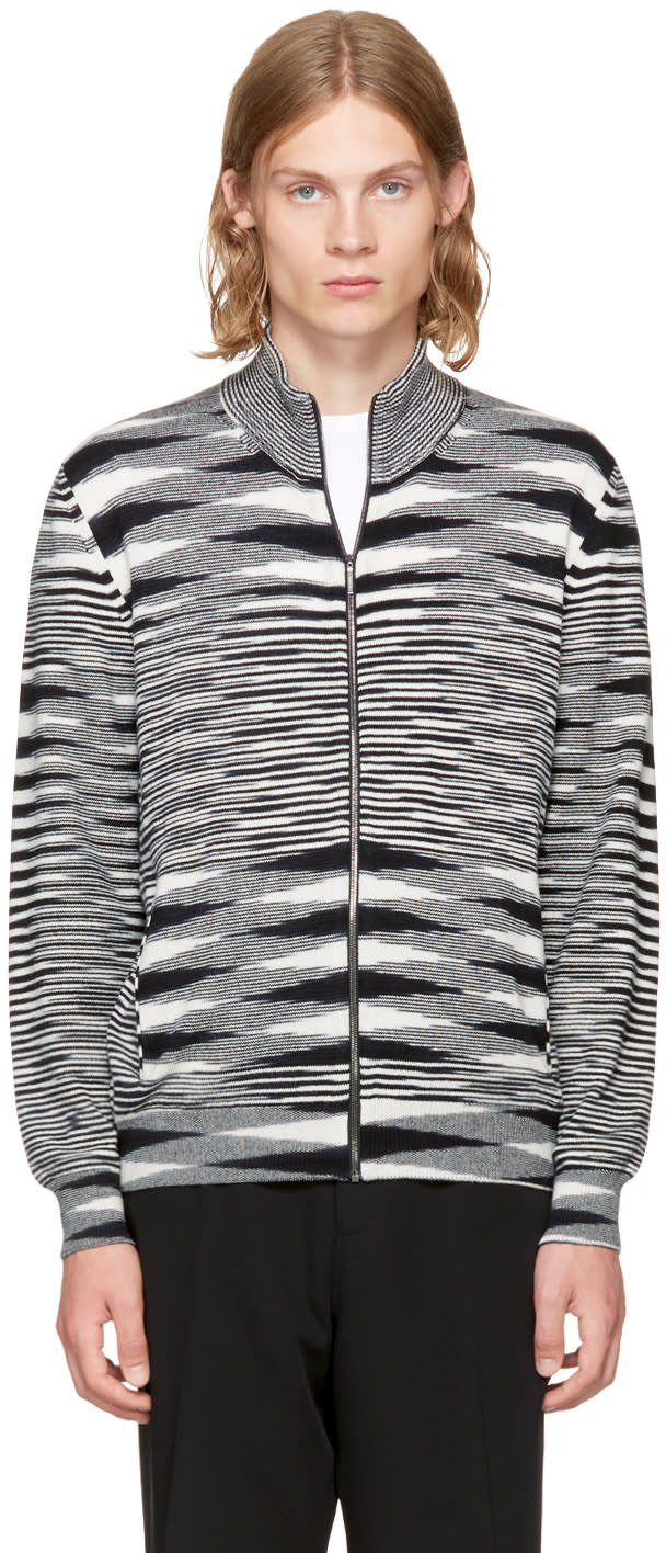 Image of Missoni Black and White Zip-up Sweater