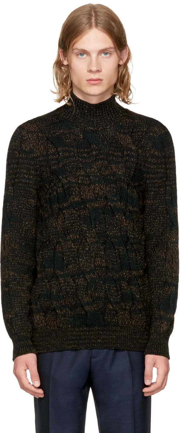 Image of Missoni Green and Black Cable Knit Turtleneck