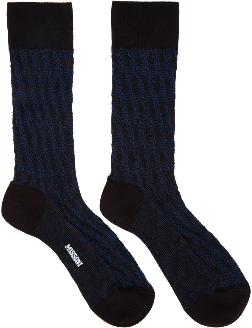 Image of Missoni Blue Cable Knit Print Socks