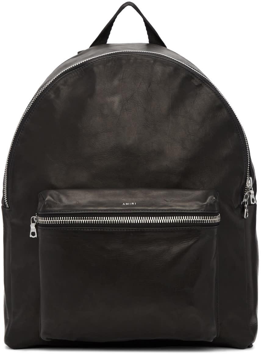 Image of Amiri Black Leather Backpack