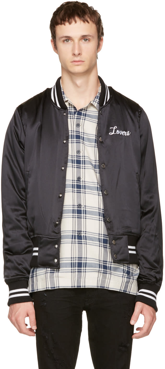 Image of Amiri Black Silk lovers Baseball Jacket