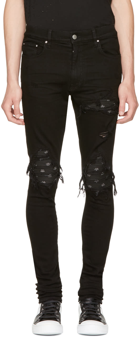 Image of Amiri Black Mx1 Bandana Jeans