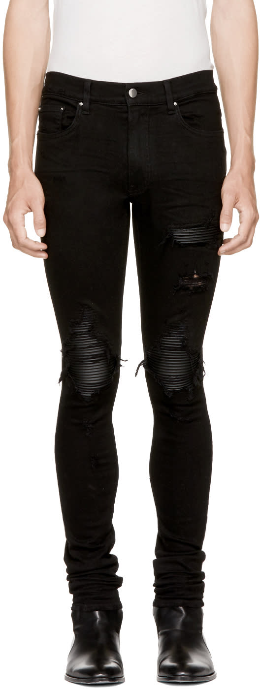 Image of Amiri Black Mx1 Leather Patch Jeans