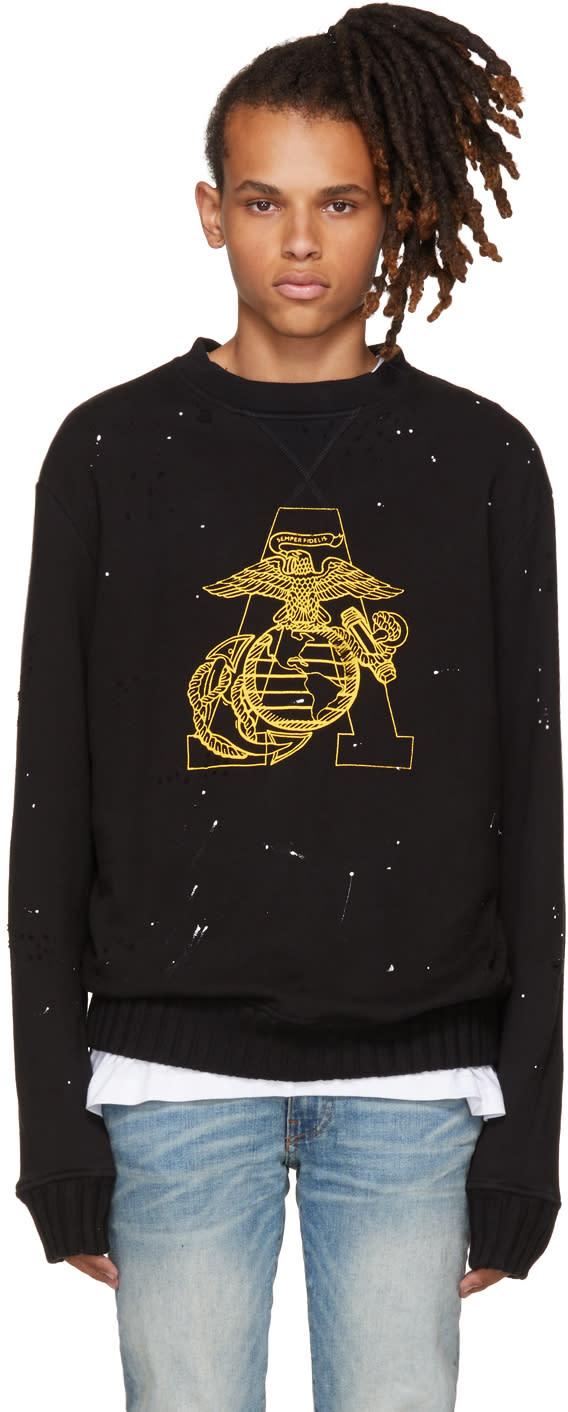Image of Amiri Black Marine Eagle Sweatshirt