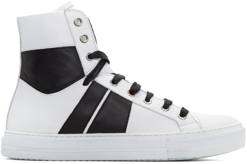 Image of Amiri White and Black Sunset High-top Sneakers