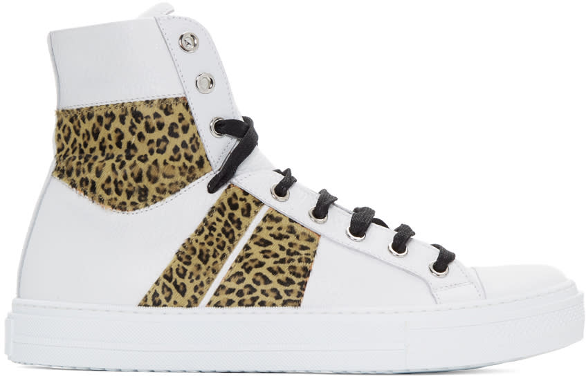 Image of Amiri White and Leopard Sunset High-top Sneakers