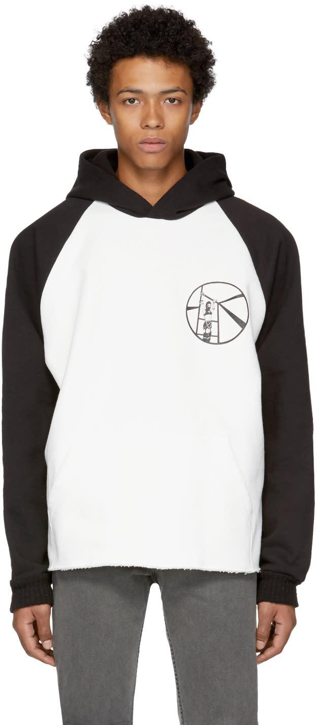 Image of Enfants Riches Déprimés Black and White Contrast Sleeve Logo Hoodie
