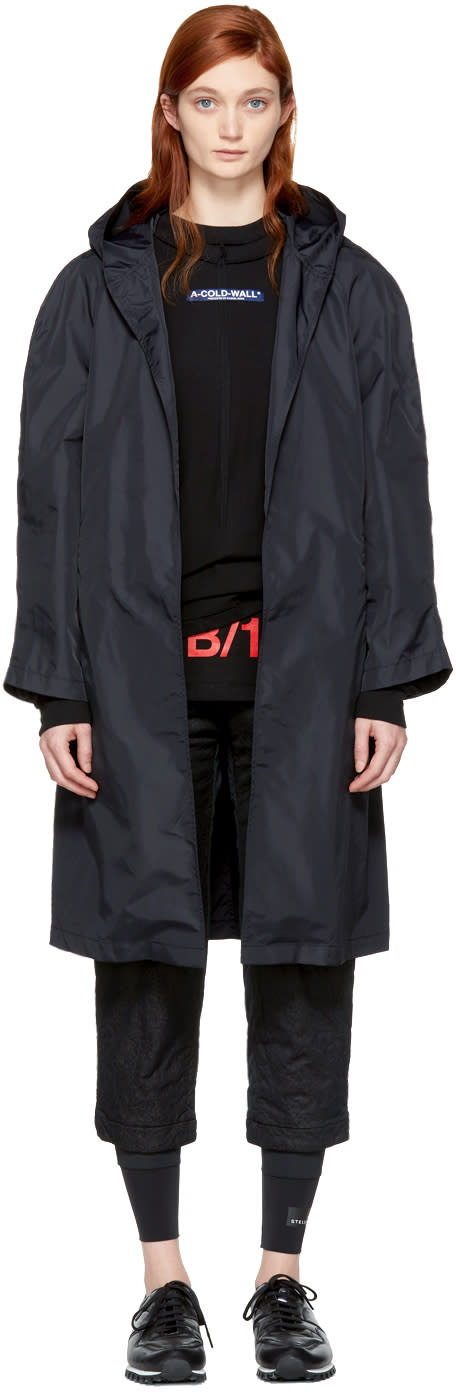 Image of A-cold-wall* Black Lightweight Hooded Coat