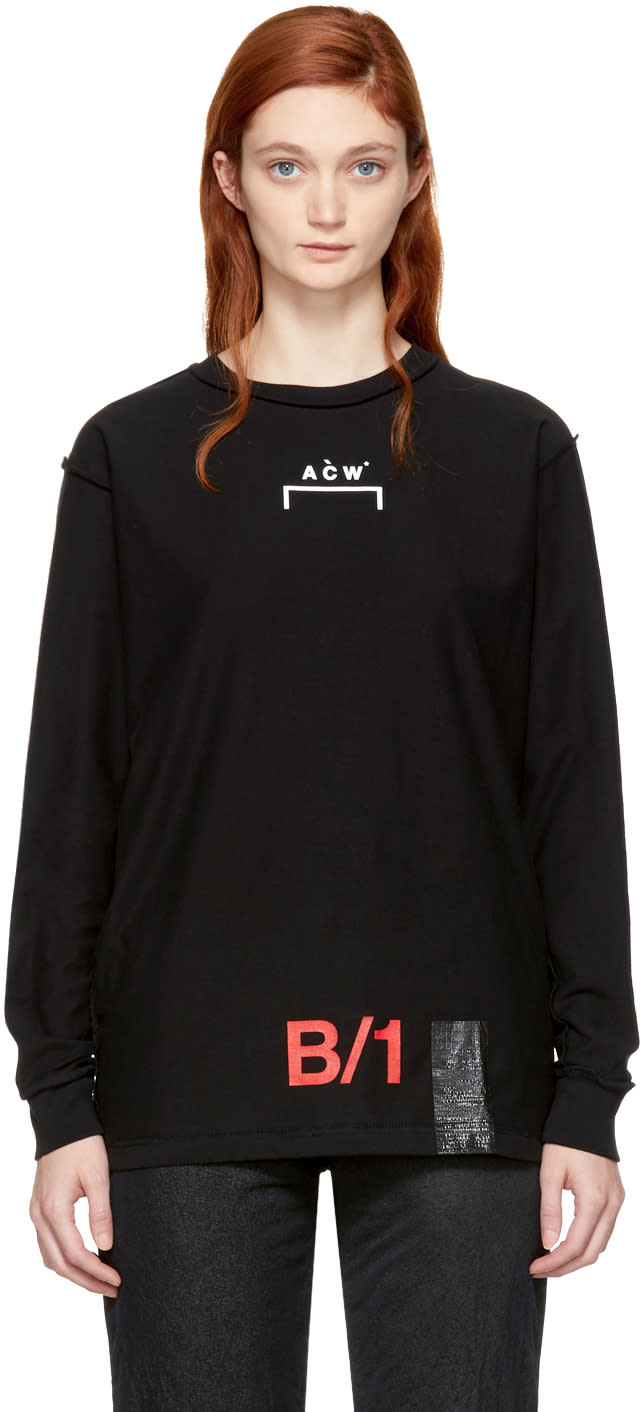 Image of A-cold-wall* Black Long Sleeve b-1 Tape T-shirt