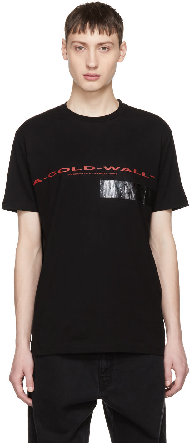 Image of A-cold-wall* Black Compressed Logo Tape T-shirt