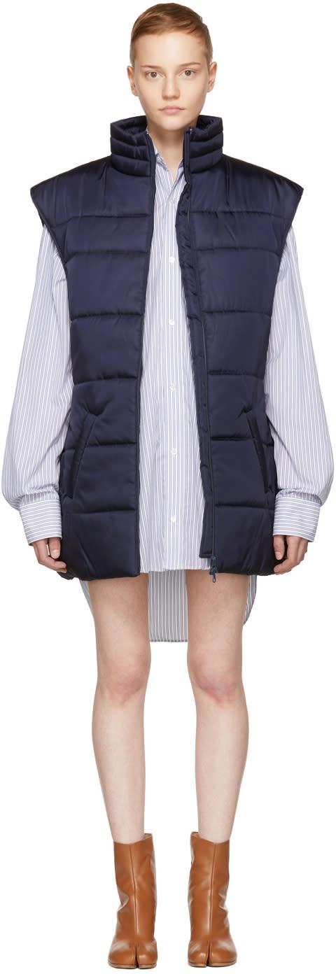 Image of Martine Rose Navy Puffer Vest