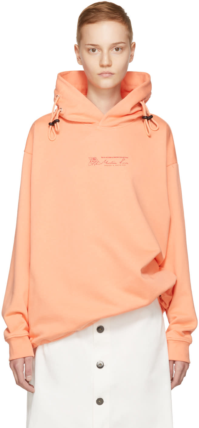 Image of Martine Rose Pink Double Drawstring Logo Hoodie