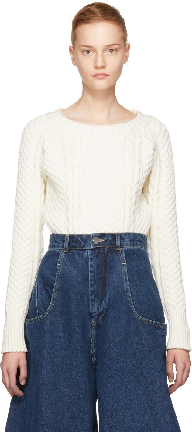 Image of Martine Rose Ivory Aran Knit Bodysuit