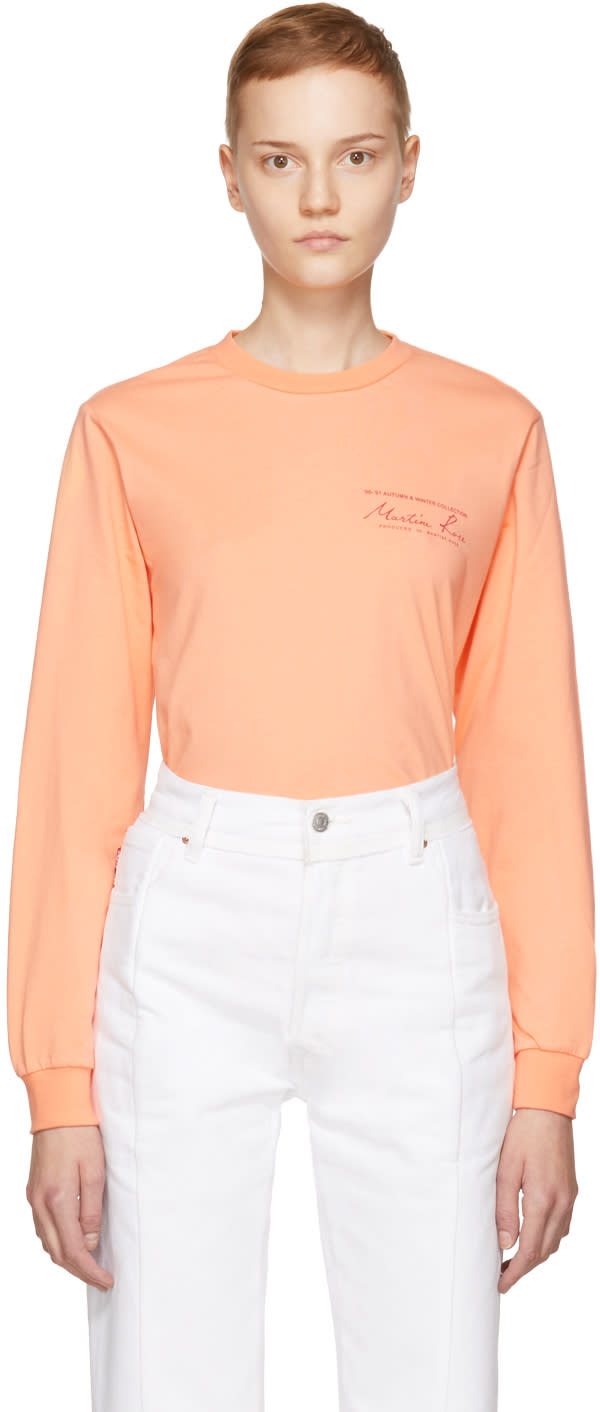 Image of Martine Rose Pink Long Sleeve Classic Logo T-shirt