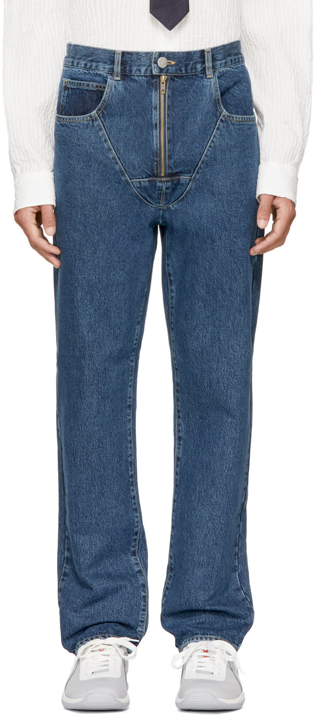 Image of Martine Rose Indigo Strap Jeans