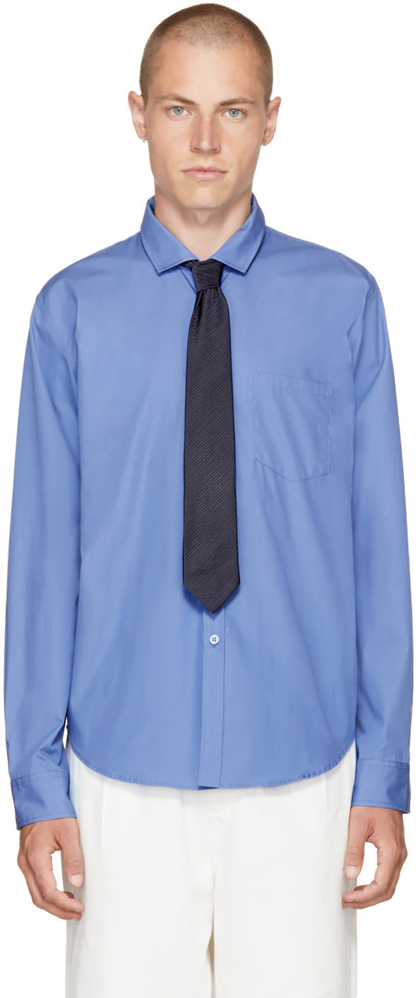 Image of Martine Rose Blue Classic Monogram Shirt