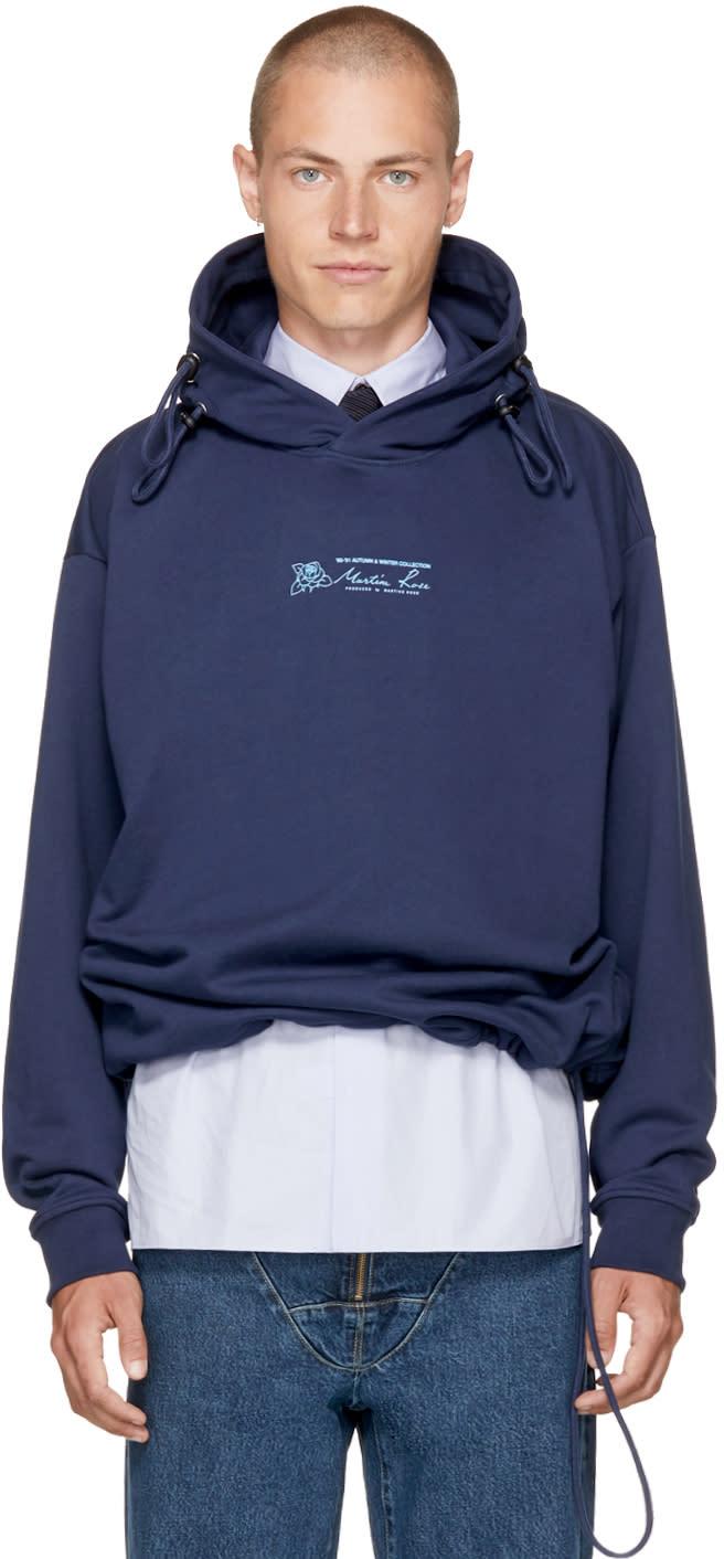 Image of Martine Rose Navy Classic Triple Drawstring Logo Hoodie