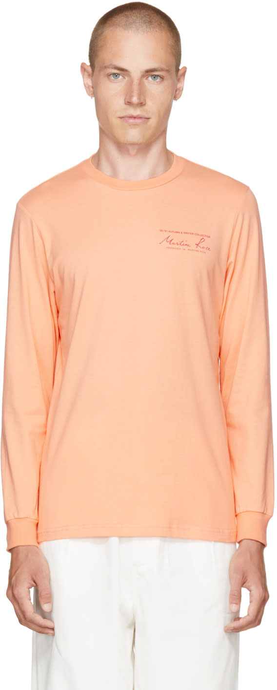 Image of Martine Rose Orange Long Sleeve Classic Logo T-shirt