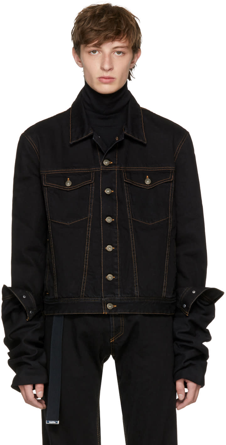 Image of Y-project Black Denim Asymmetric Sleeve Jacket