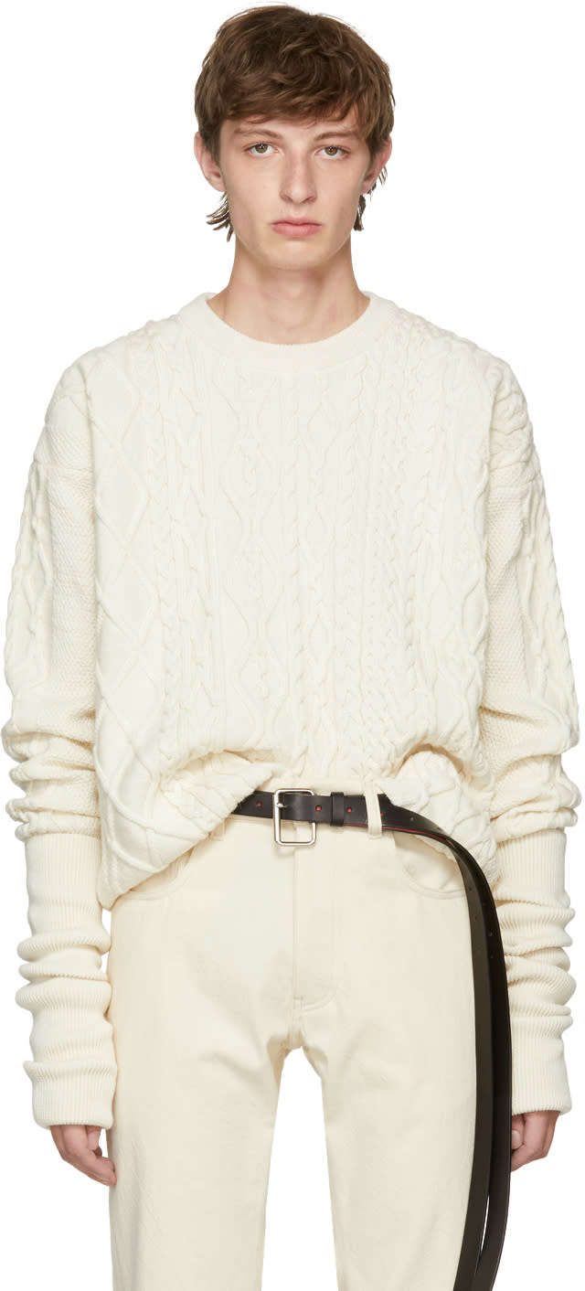 Image of Y-project Ivory Asymmetric Sleeve Sweater