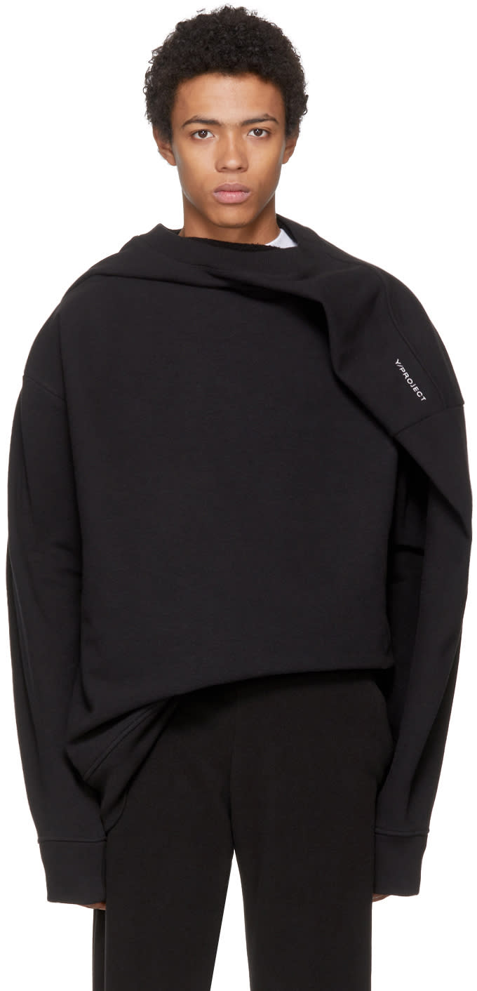 Image of Y-project Black Deconstructed Sweatshirt